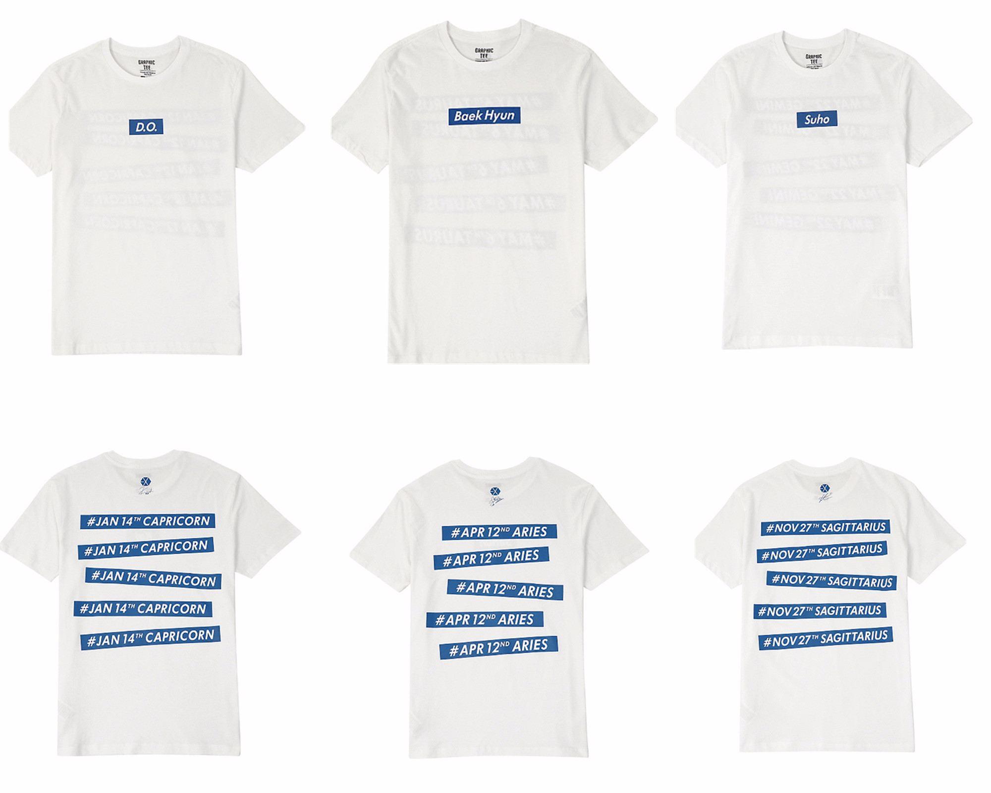 白色款正面是各成員的名字,背面是EXO LOGO、成員的簽名印圖、星座和生日,簡單的藍白拼色設計,非常符合夏天的氣氛。
