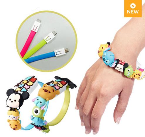 ④[Disney]卡通USB手環 經常滑手機的人,出門一定會帶充電器吧?至少帶一根USB線吧?而將USB線直接做成手環,還有可愛的迪士尼卡通角色。