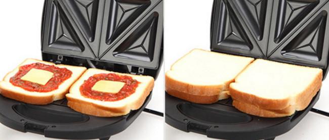 除了可以單片烤之外,還可以再中間夾上醬料和起司片,做成三明治。