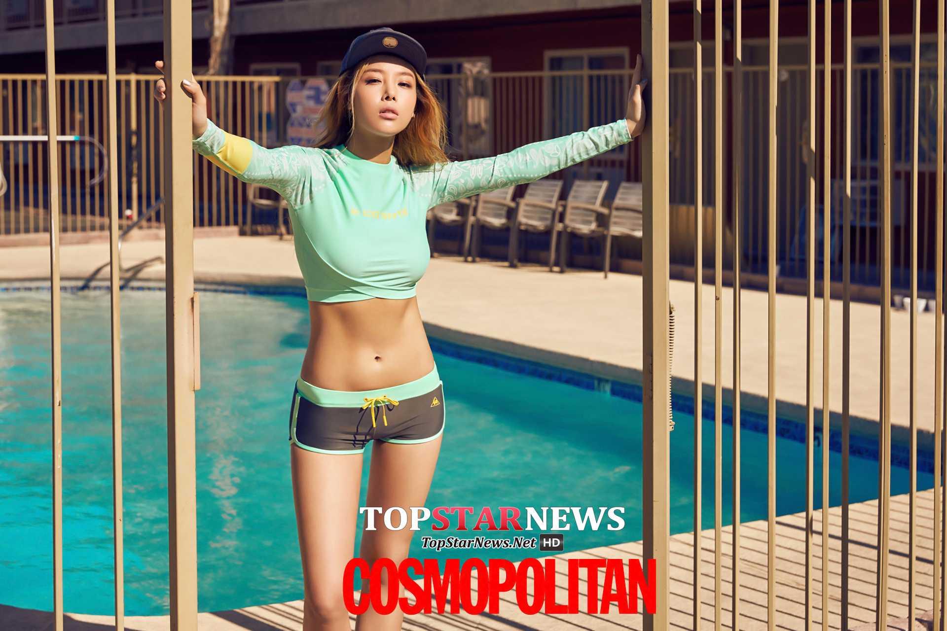 師姐,Wonder Girls的婑斌身材這麼好,當然也很適合穿貼身的防曬衣