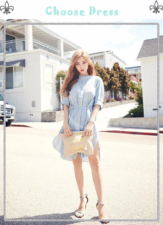 ☂ 皮膚白皙 皮膚白皙的妹子選擇服裝的範圍比較廣,可穿淡黃、淡藍、粉紅、粉綠等淡色系列的服裝,都會顯得格外青春,柔和甜美