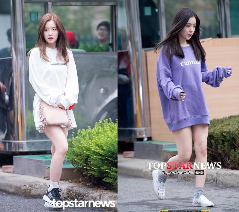 喜歡韓流時尚的女孩們發現了沒?在Irene最近的上班私服中,「 One Piece X中短襪」的LOOK出現頻率特別高。