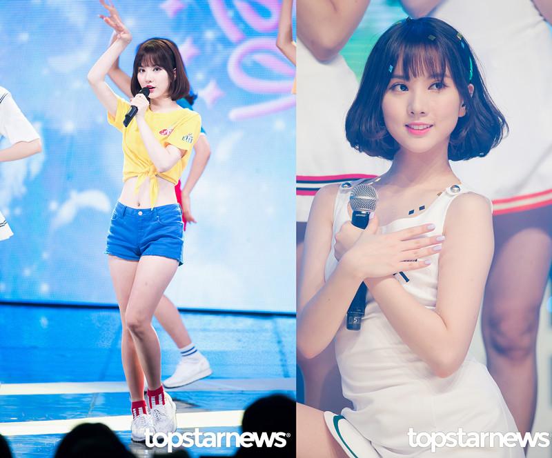 一起剪短的還有Eunha,Eunha則是剪了乖乖女頭,髮梢扣進去,再加上空氣瀏海。