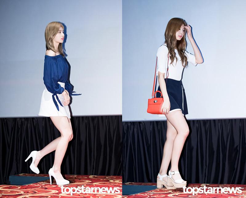 Sana和子瑜用白色高跟鞋搭出了輕熟風。
