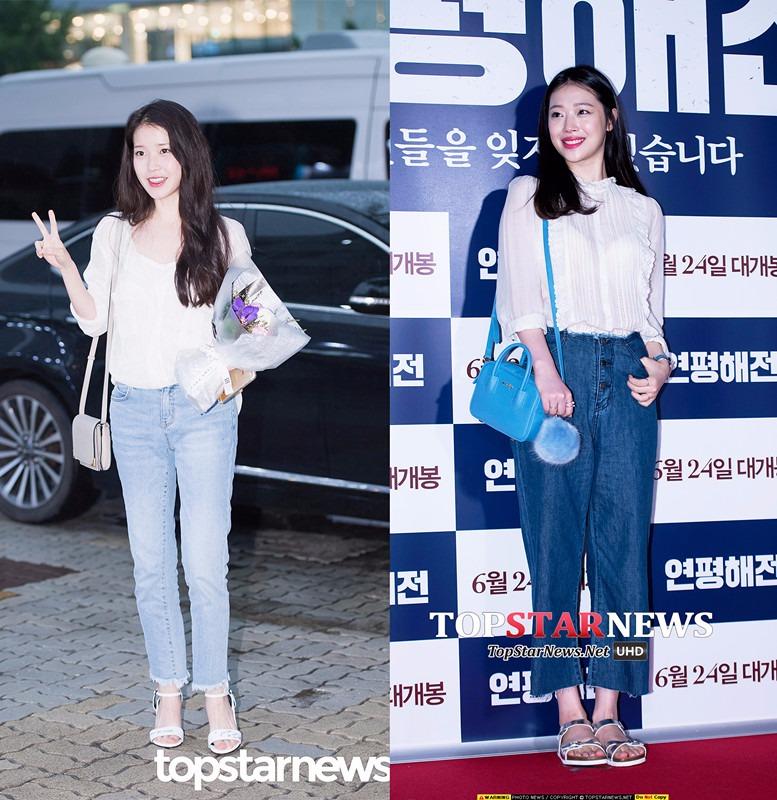 ◆白襯衫 X 丹寧褲  最簡單,也是最經典的不敗搭配之一。加上長長的自然直髮,真的很清純,又女神。