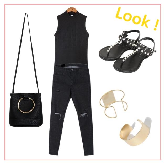 黑色穿搭配上金屬飾品也是一定要學起來的 !