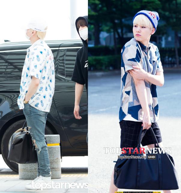SUGA 永遠睡不醒的SUGA,連私服Look也很「睡不醒 」,左邊的花襯衫很有海邊度假的慵懶風情。如果男友像SUGA一樣牛奶肌的話真的很適合這種誇張圖案的襯衫。