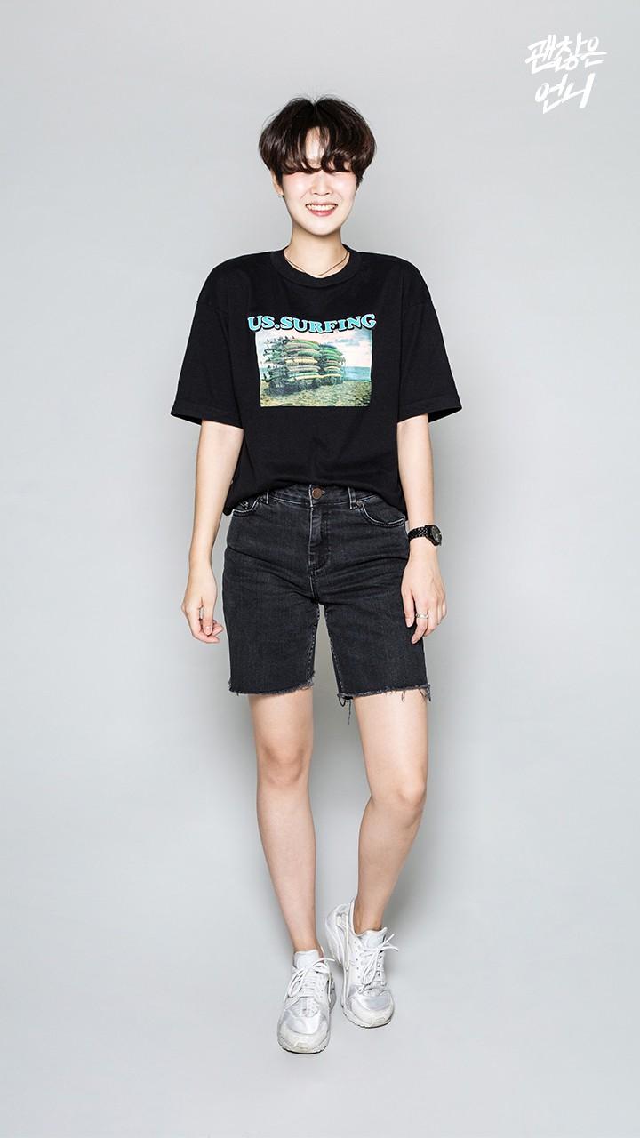▶ 五分牛仔短褲 摩登少女示範的是自己剪的五分褲,大愛這件,超常穿出門~~~♥