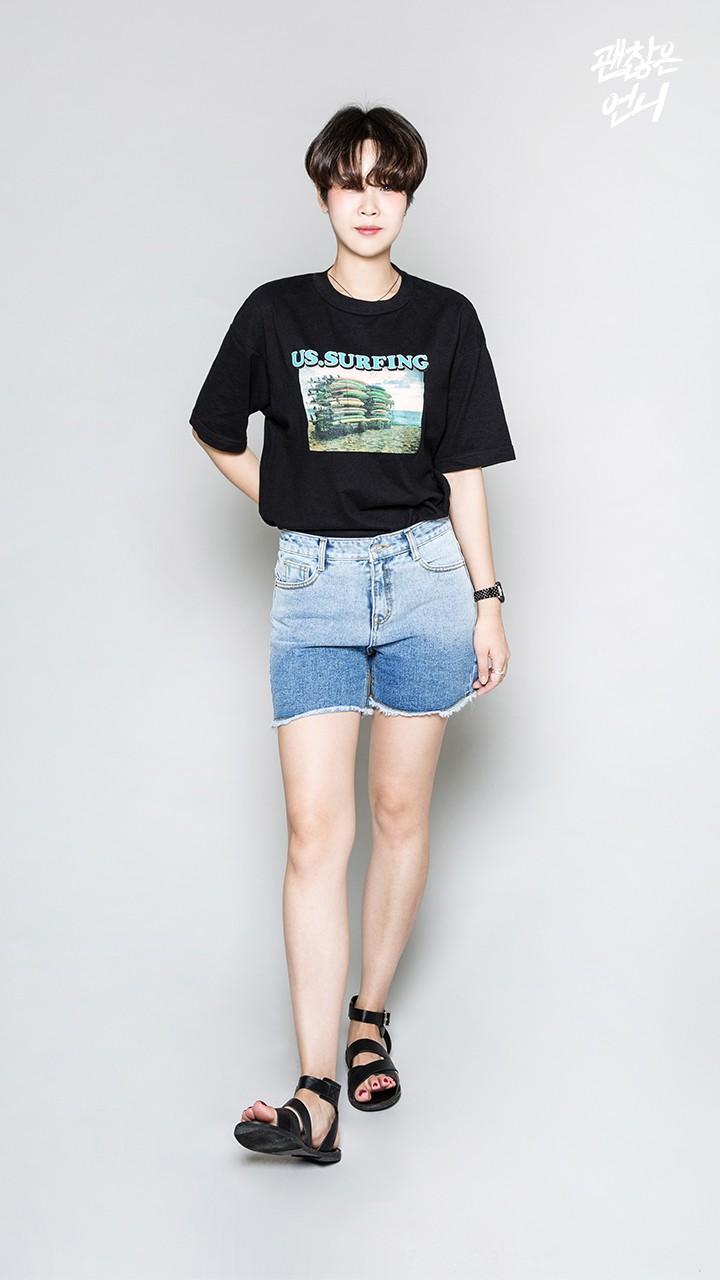 ▶ 特色牛仔褲 這件是摩登少女最近剛買的短褲,剛開始覺得長度很曖昧,但穿起來很舒服而且意外得很不落俗套~