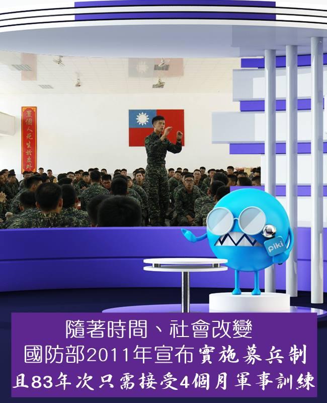 83年次1月1日後出生的人只需4個月軍事訓練