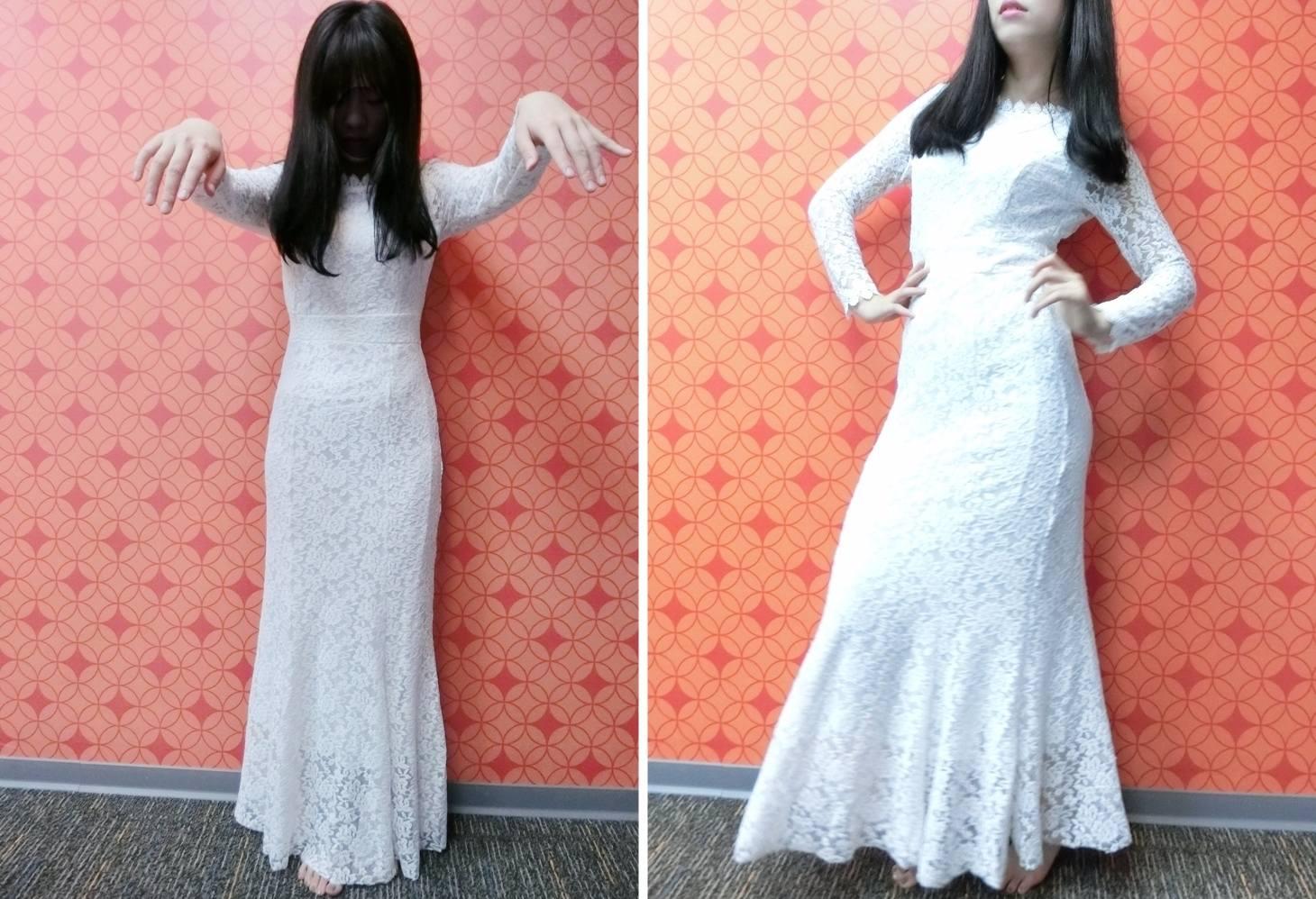 最後,看到這件婚紗時 歐膩跟P小編真的......都....笑了出來.....XD 所以.........抱歉,先來個鬼新娘XD ...但它其實真的是一件很美的洋裝啦,收腰、魚尾下擺都很優雅