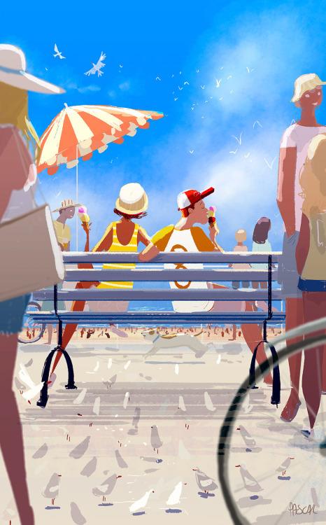 在海邊散步時的情景等等... 每一張畫都是我們平凡的日常生活