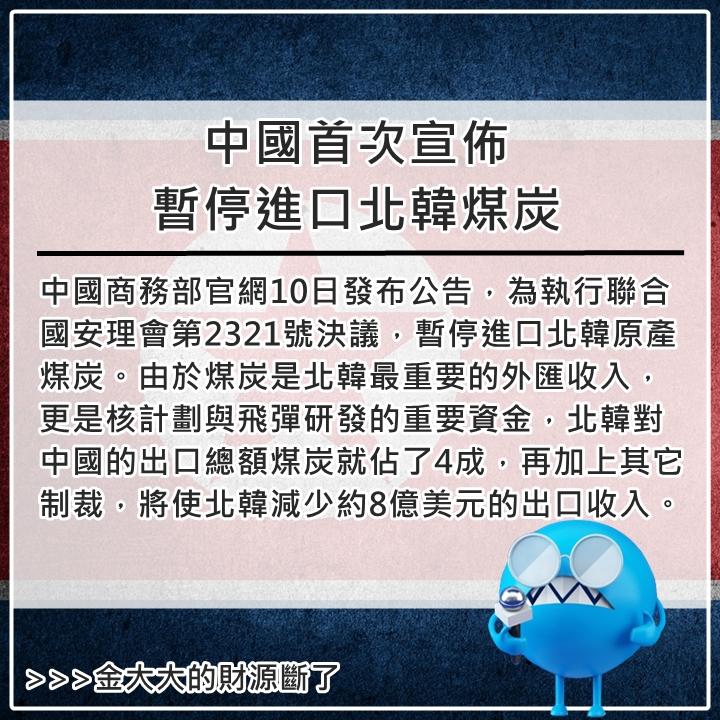 12月10日 安理會11/30決定針對北韓在9/9進行第5次核試驗等行為實施制裁,包括對北韓煤炭出口予以限制,北韓也不得出口銅、鎳、銀、鋅和雕像等資源及物品。南韓與日本12/2也立刻公佈了對北韓的單邊制裁措施。
