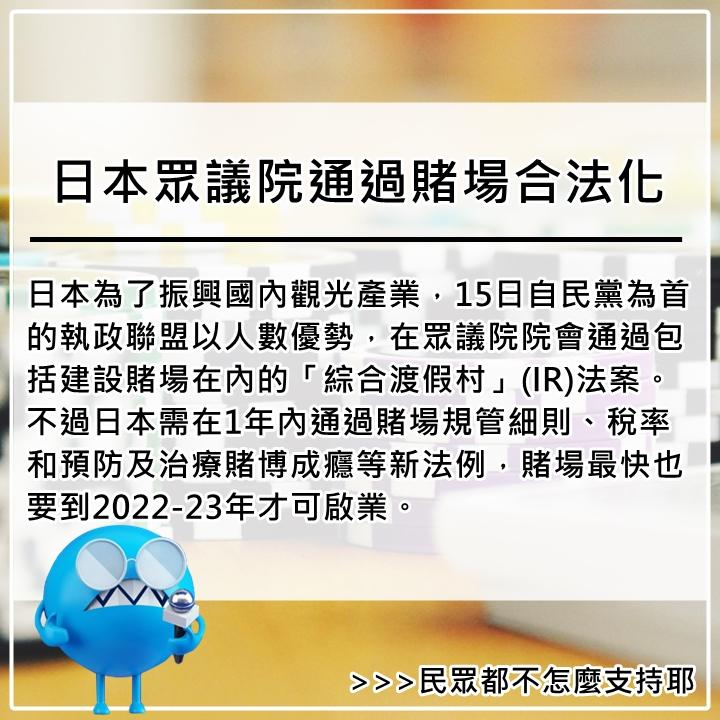 12月14日 日本雖然已經開放賭馬、賽船、和自行車競速,柏青哥遊戲也行之多年。不過,NHK調查發現,只有12%受訪者支持賭場解禁,另有44%表態反對。
