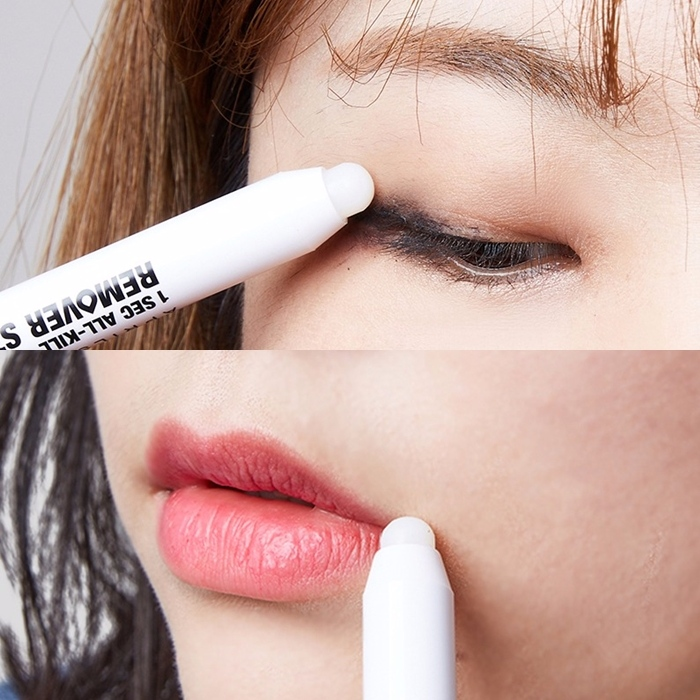 使用方法很簡單,以卸妝油膏那端先清理眼妝或是唇妝,之後再用另一端的海綿頭擦去髒污即可。