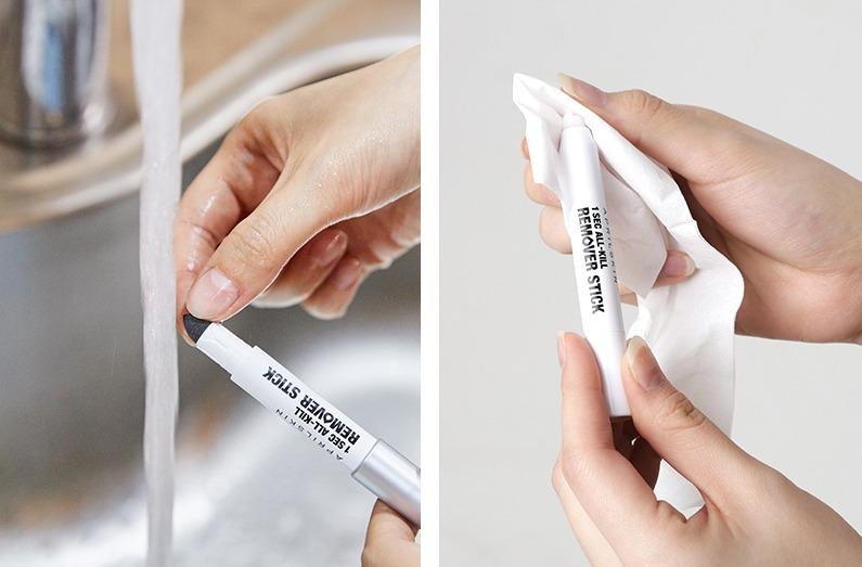 清潔時以乾淨的布或是紙巾擦拭掉卸妝棒上的髒污,海綿頭的部分則用清潔劑和溫水清洗就好。