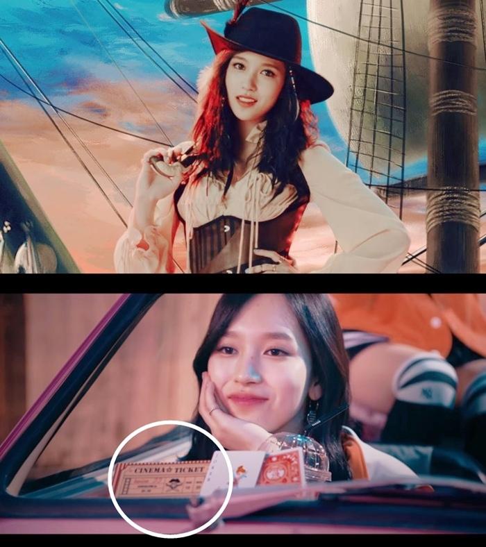 韓文版MV — Mina扮演《加勒比海盜》的女海盜 日文版MV — Mina的座位前方出現海盜的標誌