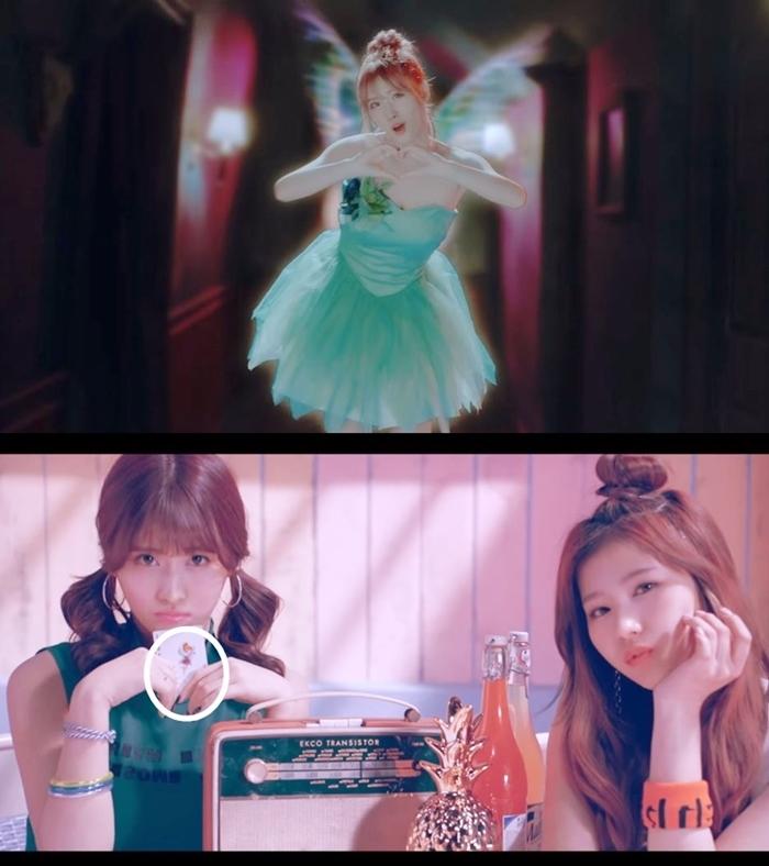 韓文版MV — MOMO扮演《小飛俠》小叮噹 日文版MV — MOMO手中牌卡上正好印著小叮噹