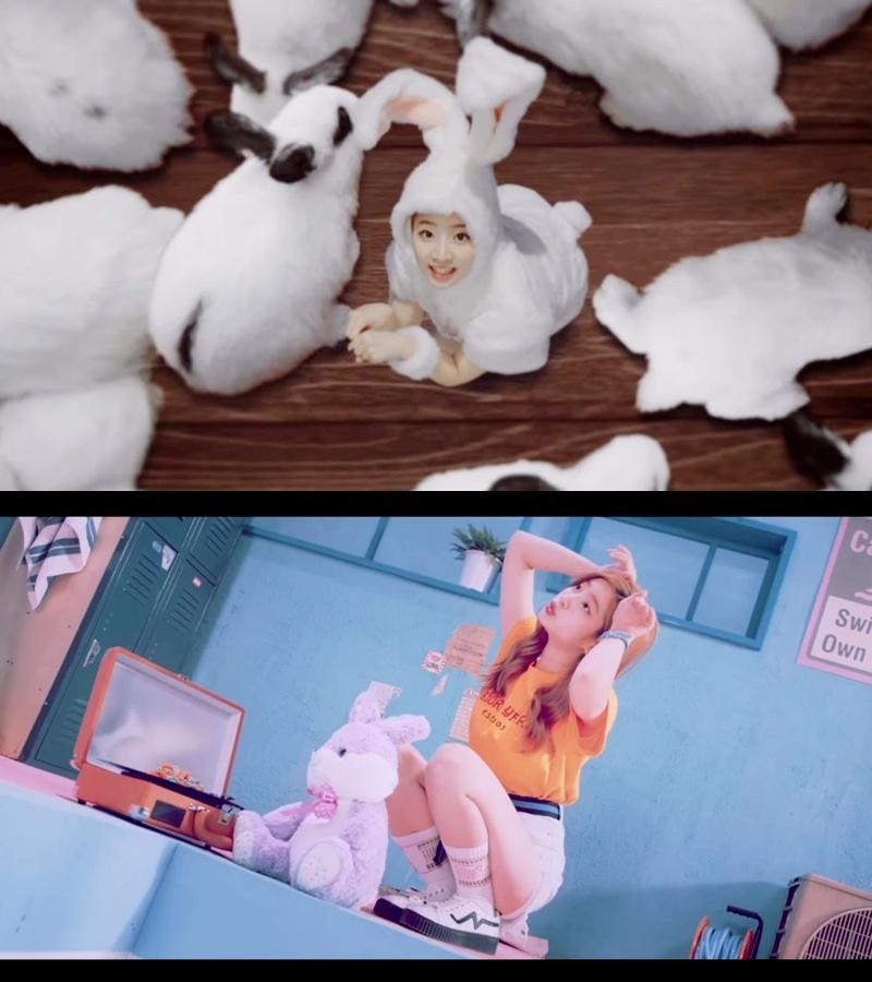 韓文版MV — 多賢扮演可愛的兔子 日文版MV — 身邊有兔子的玩偶