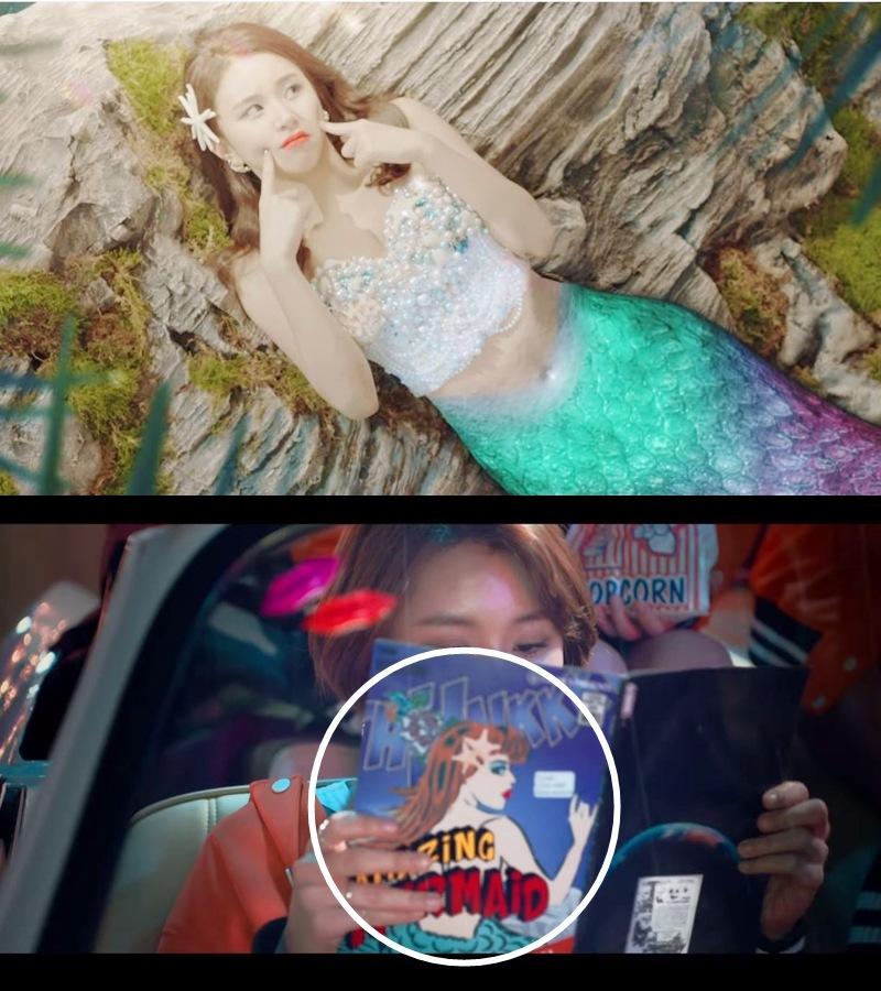 韓文版MV — 彩瑛《小美人魚》美人魚愛麗兒 日文版MV — 手上拿著的書封面上有美人魚的圖案