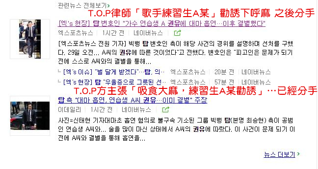 《fn star》及多家媒體都報導T.O.P承認在服役前因為壓力過大,在當時的女友韓姓女練習生的勸誘下,共使用4次大麻,但兩人在T.O.P服役前便已分手, 之後便不再使用大麻。