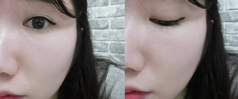畫好眼線之後偽少女終於找到我的眼睛了XD,這兩隻眼線液筆滑順、顯色的特性,真的讓初學者畫眼妝也不擔心啊!