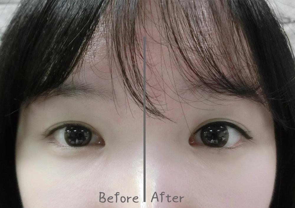 比較一下差異更明顯,左邊想睡的眼睛 VS. 右邊的氣勢眼神!這就是為什麼偽少女寧願上班遲到也要畫好眼線再出門啊XD,只能說女生真的好辛苦...