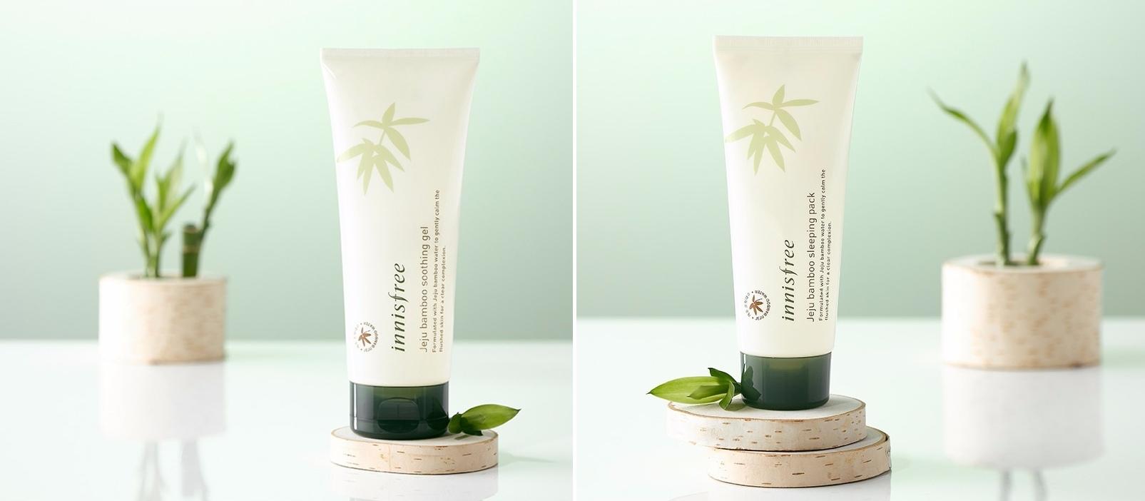 首先就是這兩款分別是濟州青竹舒緩凝露(左)、濟州青竹晚安面膜(右),都是由濟州青竹萃取,非常清爽溫和,可以有效舒緩、鎮定乾燥的肌膚。