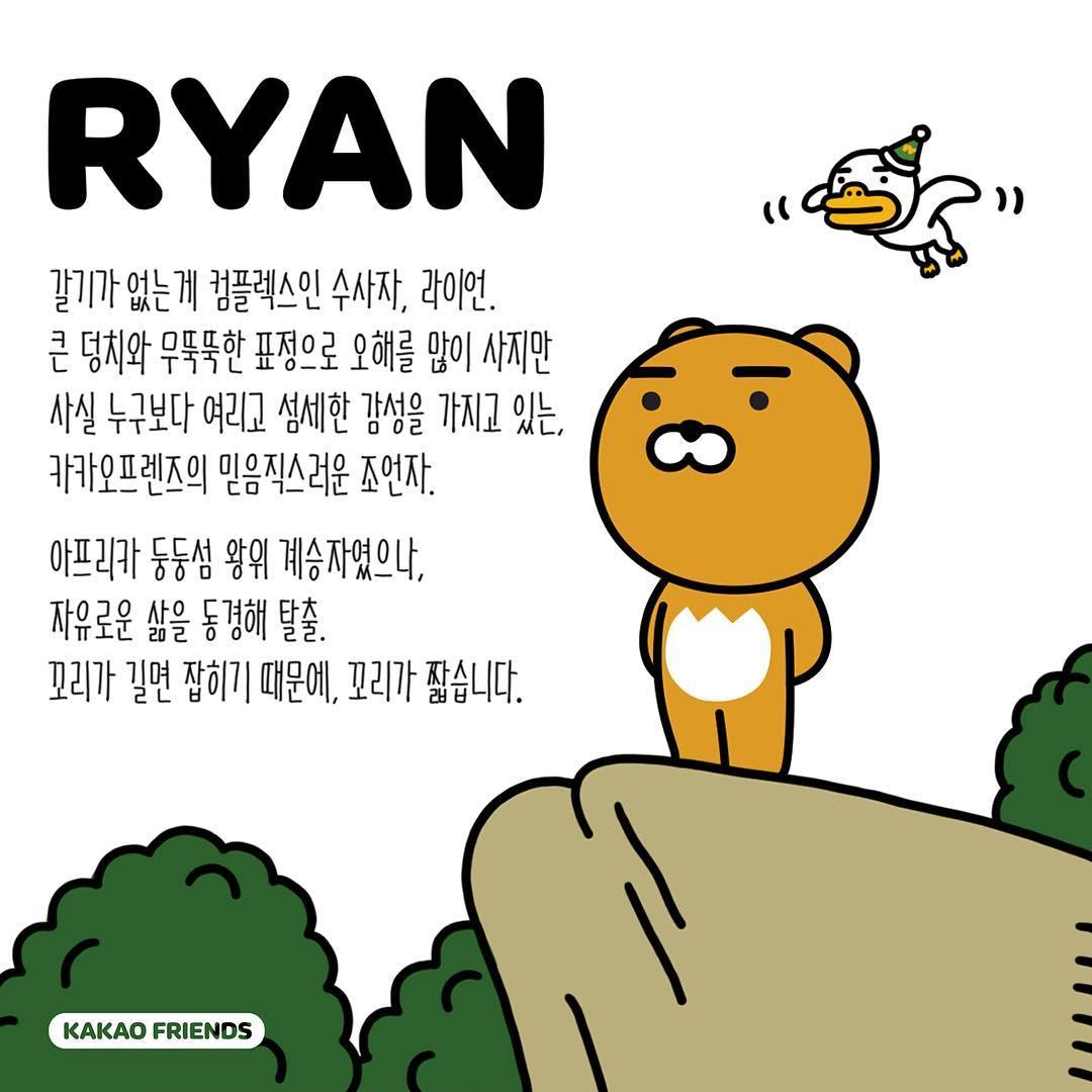 #RYAN:可愛的獅子 RYAN是一隻沒有鬃毛的雄獅。看起來很可靠、內心跟小羊一樣柔軟細心,這點是其他KAKAO FRIENDS把RYAN當成隊長的原因之一。其他KAKAO FRIENDS還表示,如果沒有RYAN的智慧和領導,他們就會失去方向。