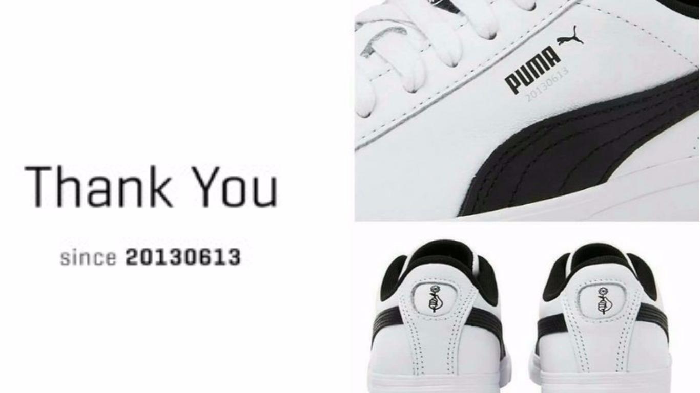 鞋子可能會是這樣 每個圖案代表不同成員還有不同的含意 真的超燒啊!!!廠商真的很懂粉絲啊~防彈鞋款TAT 未來粉絲們可能要用換小卡的方式換不同成員的鞋子了XDDD
