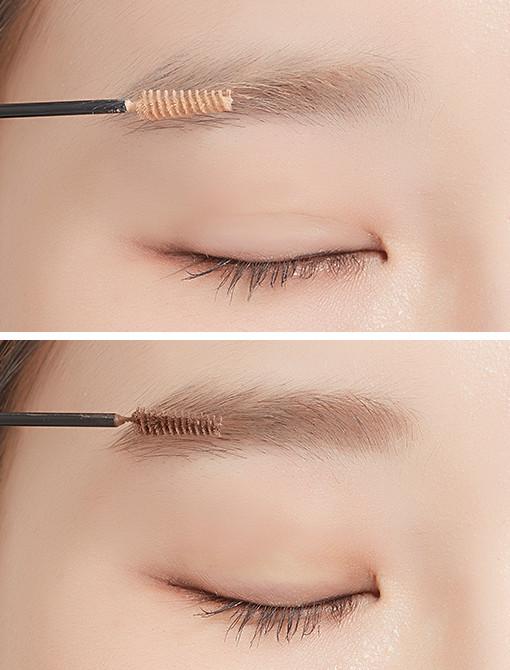 刷頭極細,比較不會塗出去,化妝新手也很容易上手。 而且妝感自然、立體,眉膏不結塊。