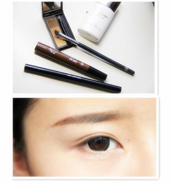 2.戴好美瞳後,用眉筆配合眉粉畫出自然的眉毛。想要韓妞自然感的妝容,眉毛下手要輕,眉尾平拉出去不要太長。