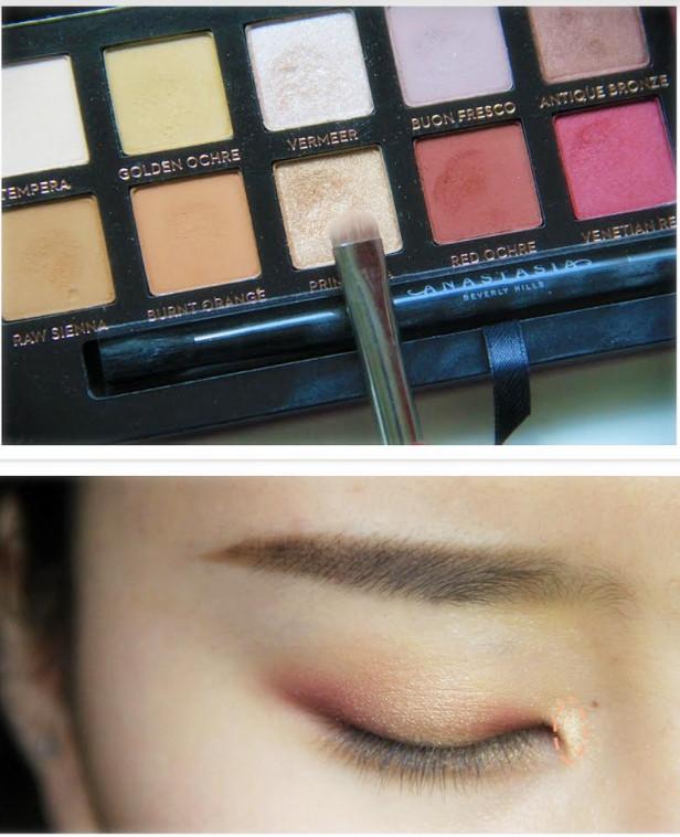 6.同樣的顏色,在眼角處也要用刷子塗一點,這樣眼睛會看起來彷彿淚光閃閃的樣子,增添了無辜感!