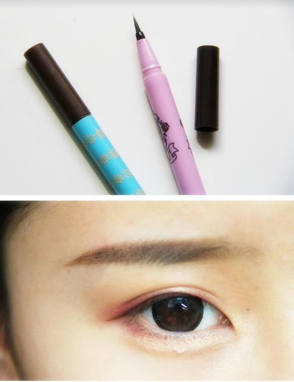 10.用棕色的眼線液筆,從剛剛眼線截至的地方開始平拉出來,勾勒出細細的眼線就好啦。