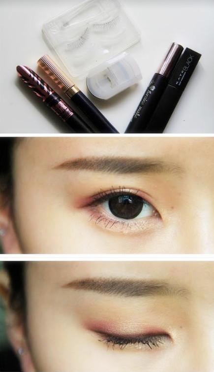 11.眼妝的最後一步就是夾翹睫毛,然後選用根根分明的纖細款睫毛膏,拉長上下眼睫毛。眼睛是不是瞬間又變大啦~~