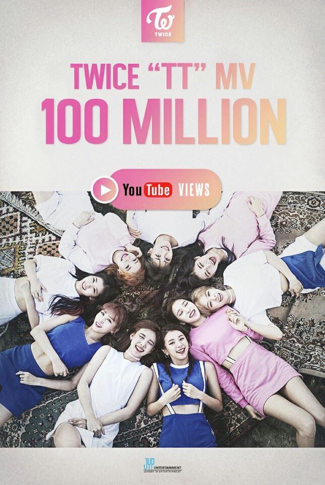 TWICE在2015年以實境選秀節目《SIXTEEN》出道後,推出的音樂作品受到世界各地粉絲的喜愛,TWICE發行的歌曲《TT》也在72天的時間就破億了,她們也打破韓團最快破億的紀錄!!!