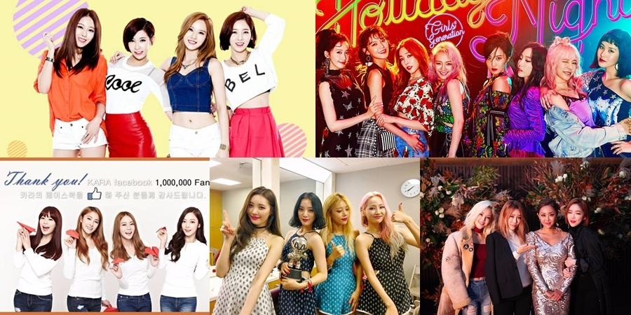 5.Sunny Hill           出道日期:2007年9月21日 4.少女時代             出道日期:2007年8月5日 3.Kara                  出道日期:2007年3月29日 2.Wonder Girls       出道日期:2007年2月10日 1.Brown Eyed Girls 出道日期:2006年3月2日