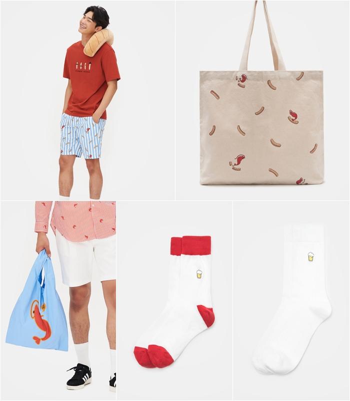 甚至還有玻璃杯、蝦餅乾抱枕,手提袋、襪子等等...好多種類的聯名款!紅色小蝦子是不是越看越討喜~