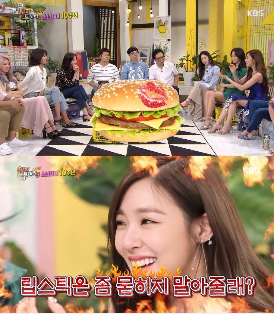 Tiffany:「聽到我的話秀英便給我吃了,但是我那時已經化完完整的舞台妝,所以我的口紅都印到漢堡上,結果看到的秀英就有點生氣的說:『口紅(沾到了)!』」 秀英則接著說:「因為我對食物有點敏感。」主持人們也表示理解,秀英:「只是那時候Tiffany看起來很傷心的說:『朋友的口紅沾到了還是可以吃啊...』」