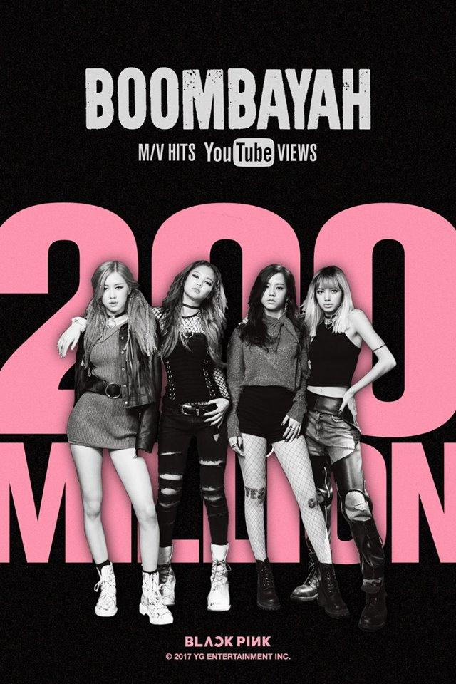 而近日BLACKPINK的出道歌曲《BOOMBAYAH》在YOUTUBE突破了2億觀賞次數,而且只花了370日~作為一個出道剛滿一年的新人女團,這樣的成績真的很驚人啊~ 恭喜BLACKPINK~