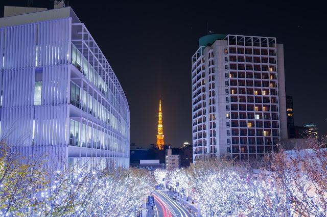 2. Caretta Shiodome(カレッタ汐留)(烏龜汐留大樓)  從Caretta Shiodome的B2F搭乘電梯到46樓,可以看見台場、彩虹大橋的景色,但若想看東京鐵塔的view可能就要花點錢去那邊的餐廳用餐。如果是冬天要去東京玩的話,小編認為Caretta Shiodome 將會是你最好的選擇,很有機會能遇到光之汐留的美麗燈海!