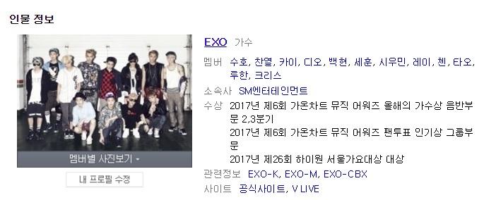 不只官方YouTube頻道 粉絲也發現在搜尋EXO時 搜尋網站竟然還是出現12位成員時期的照片
