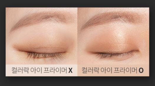 (左)未使用打底妝的眼影看起來霧霧又不均勻的感覺,(右)有使用的一邊眼影特別明亮顯色!感覺眨眼特別迷人了!