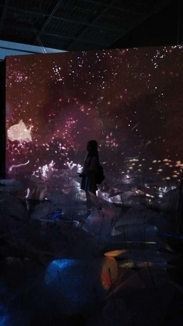 再進去就是一片像蓮蓬花海的光影展示場個,兩旁還會投影出像海洋裡面的景象哦!