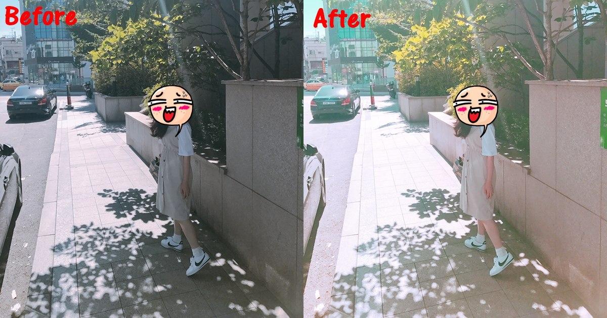 將江~附上一張沒有臉的照片XDDD可以看到右邊使用後整個粉嫩許多,本來有點陰案的感覺,但是套上濾鏡後就很陽光啊~