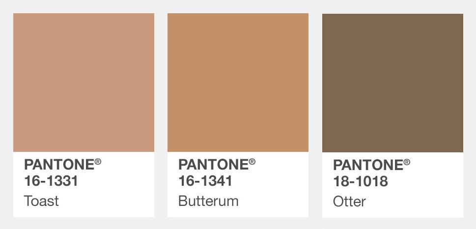 #卡其、褐色、咖啡色 Toast焦吐司色、Butterum奶油蘭姆酒棕、Otter水獺褐 這個秋天不能少的還有溫暖的大地色系。