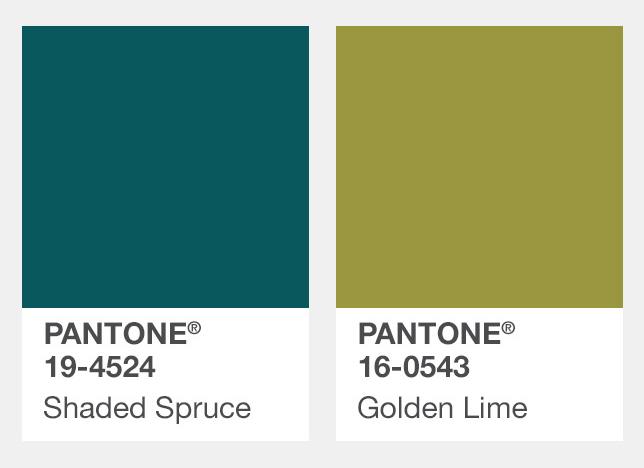 #暗藍綠色、綠黃色 Shaded Spruce暗雲杉綠、Golden Lime青檸金 今年的年度色彩是草木綠,所以到了秋天綠色依舊還是流行的元素之一,不過彩度降低了一些,色調上也有了變化。