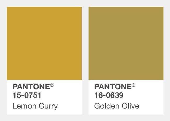 #芥末黃、橄欖黃色 Lemon Curry黃檸咖哩、Golden Olive金黃橄欖色 一路從夏天流行到秋冬的黃色,從亮色轉為彩度比較低的顏色,這兩個色票的名子都是食物啊XD