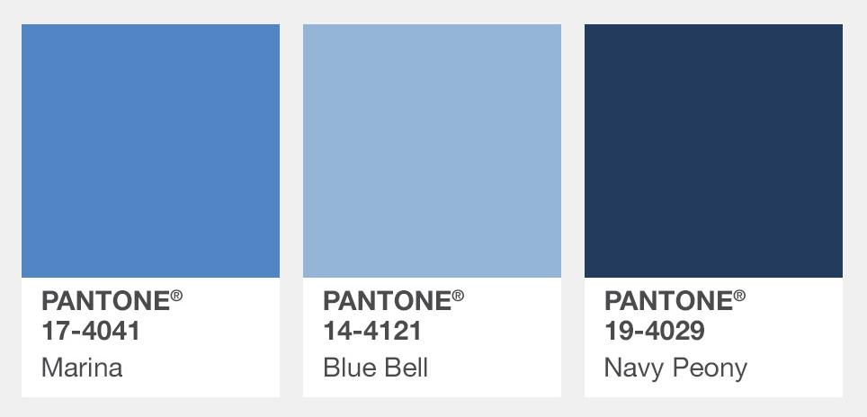 #冷藍色、粉藍色、海軍藍 Marina船塢藍、Blue Bell風信子藍、Navy Peony深牡丹藍 今年秋冬的顏色趨勢還有各種藍色,而這三個藍當中在歐美秋冬時裝周使用平率最高的就是顏色最深的海軍藍了。