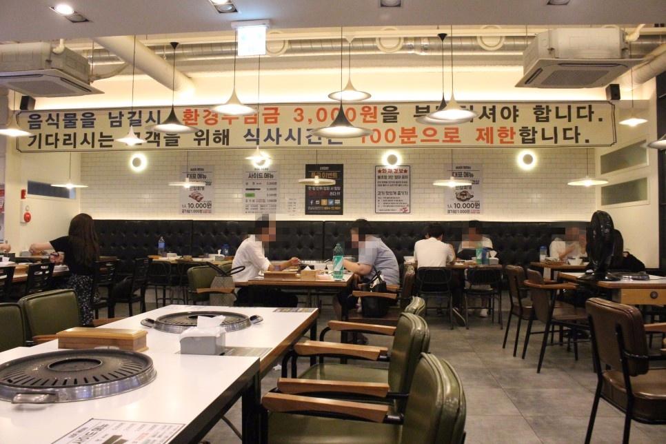 店內空間不僅寬廣,座位也相當舒服,和首爾常見的吃到飽的狹小空間不空,雖然是開放式的空間,但油煙也不重!牆上寫著用餐時間限時100分鐘,如果有太多吃不下的食物,會再追加3000元韓幣,所以雖然是吃到飽,大家也要衡量一下胃的容量再點餐喔!